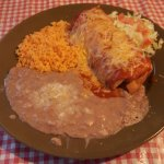 Beef chimi with rice and beans