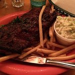 The half portion ribs with slaw and fries.
