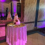 The cake table in the ballroom/reception area.