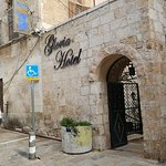 the front of the hotel, just steps from the Jaffa Gate