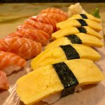 "Salmon ""belly"" and tamago nigiri"