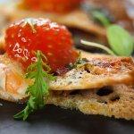 Pan y tomate s krevetou a jamonem iberico