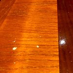 We were seated at this dirty table