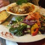 Lasagne, salad and garlic bread
