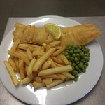 FISH AND CHIPS WITH PEAS   YUMMY !!!
