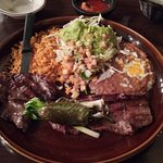 Carne Asada with Guacamole, Refried beans and Rice