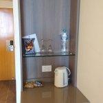 tea, coffee, fridge in room