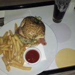 room service burger, delicious!