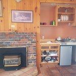 kitchenette and fireplace