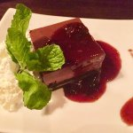 Chocolate cake with chutney sauce