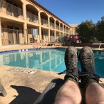 Relaxing by the pool in winter sunshine after a hike to Bell Rock etc.