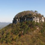 "A moderately strenuous hiking trail loops around Pilot Mountain's ""Knob."""