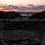 Danzinger Vineyard patio overlooks the Mississippi River at sunset