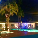 Pool and hot tub night view.