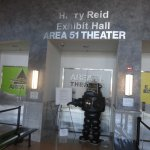 Exhibit hall named for Senator Harry Reid. Robby the Robot at front.