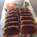 Seared Ahi with soy sauce and fresh ginger - Yum!