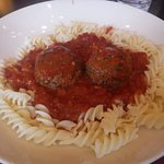 Lunch beef meatballs, tomato sauce, and gluten free pasta.
