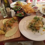 Deep fried oysters and fish of the day - hapuka