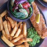 Fish and Chips from lunch menu with extra salad purchased