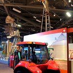 Sit inside a modern tractor and experience what it is like to plant and harvest crops.