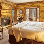 The Cabin room - king size bed, fireplace, ensuite bathroom with tub, bay window seat and balcon