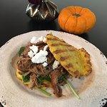 Pulled pork sandwich - cauliflower buns, pork, spinach, goat cheese