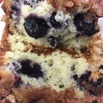 Blueberry muffins with a crispy struesel topping.