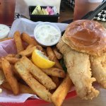 Fried grouper sandwich basket with fries