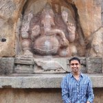 A giant stone Ganesha in the compound