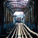 Train at Long Bien station