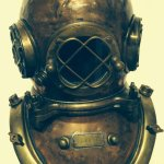 """US Navy diving helmet, circa 1880's/1890's, made by """"A. Schrader & Son"""""""