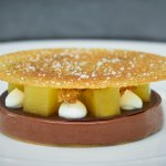Valrhona Manjari, pineapple, salted caramel tuile