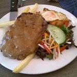Senior's Fillet steak, egg, chips and salad