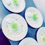 Melon Rose with Lemon Sorbet & Mint Syrup
