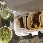 Took these tacos and guacamole to go... Just as delicious.