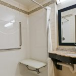 Our Barrier Free room is best for wheelchair access and features a roll-in shower.