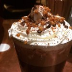 Hot chocolate with cream and salted caramel balls