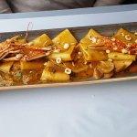 Langoustine et pâtes sauce courge, noisettes et cèpes