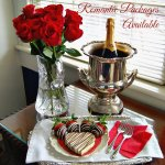 Chocolate covered strawberies, Champagne, and heart shapped cheesecake