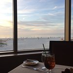 Very lovely view of the beach from the table.