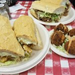 Shrimp Po-boy, Roast Beef Po-boy, and Boudin Balls
