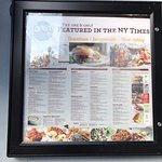 Menu with dish featured in N.Y. Times