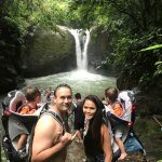 enjoyed the hiking the waterfalls in Costa Rica with the twins.