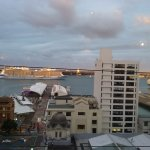 The view of Auckland Harbour as a cruise ship departs from Vue restaurant