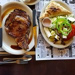 The Prime Rib was my great choice and the best in town. It came with a soup, salad and dessert t