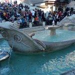 The Fontana della Barcaccia in the overcrowded Piazza di Spagna