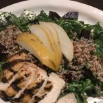 Roasted beet, quinoa salad over greens with chicken