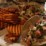 tacos and sweet potato fries. YUM!