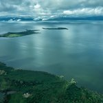 View of Lake Victoria after take off from Entebbe