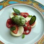 Dessert - yes dessert! Pannacotta Caprese - pannacotta, basil sorbet, strawberry tomato